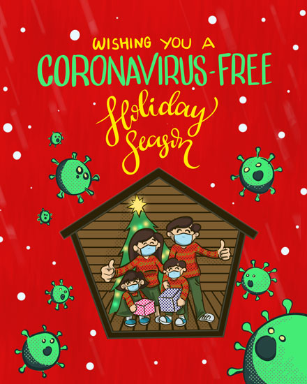 holiday card coronavirus free holiday comic