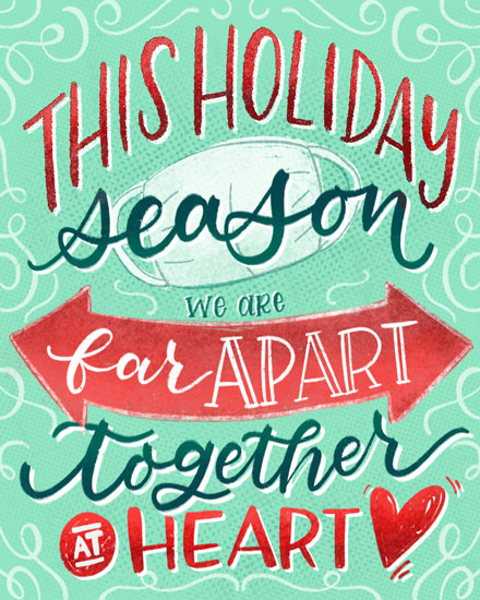 holiday card far apart together at heart