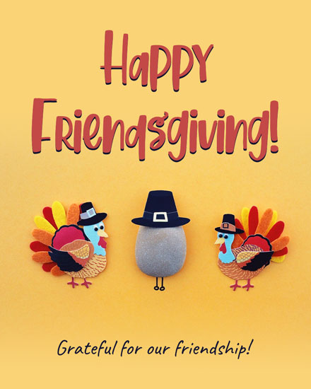 thanksgiving card friendsgiving pilgrim turkey