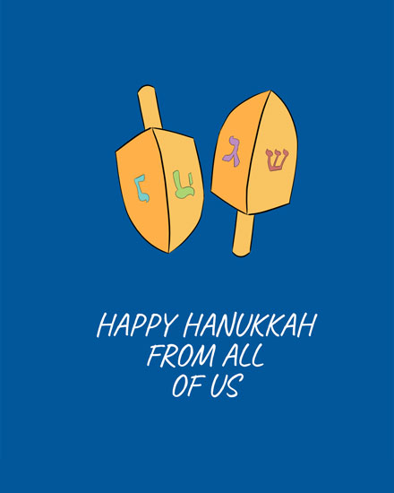 hanukkah card dreidels