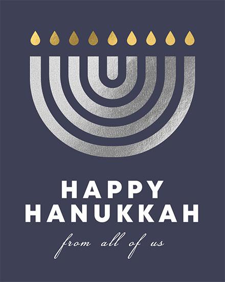 hanukkah card happy hanukkah from all of us menorrah