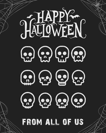 halloween card skulls
