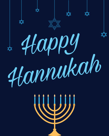 hanukkah card menorah