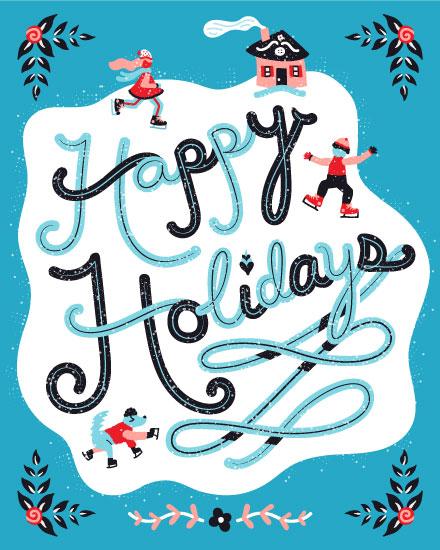 holiday card happy holidays skaing pond
