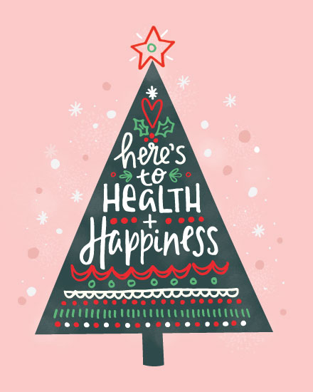 holiday card health and happiness tree