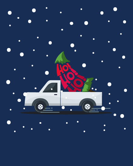 holiday card ho ho ho tree in truck