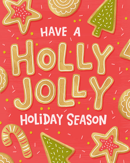 holiday card holly jolly cookies
