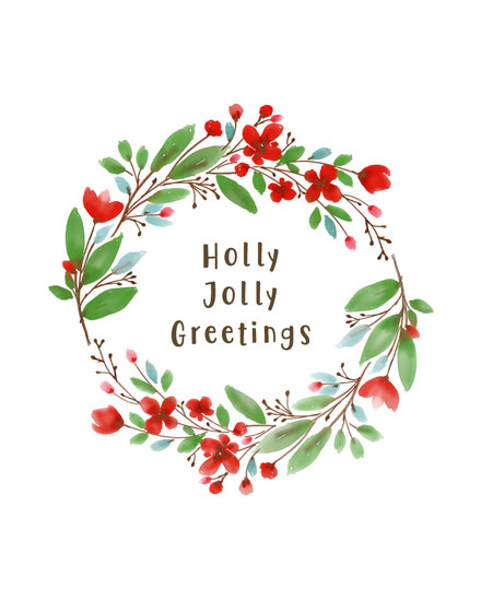 holiday card holly jolly wreath