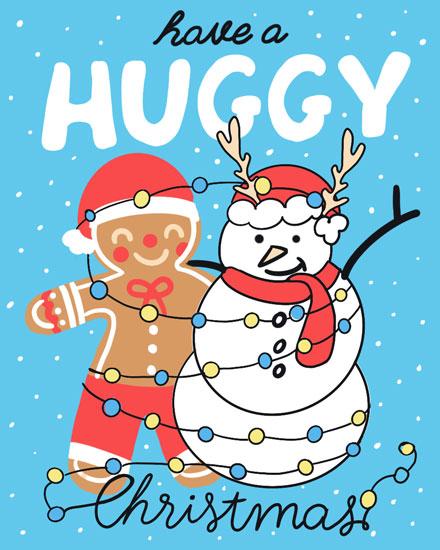 christmas card have a huggy christmas snowman gingerbread man