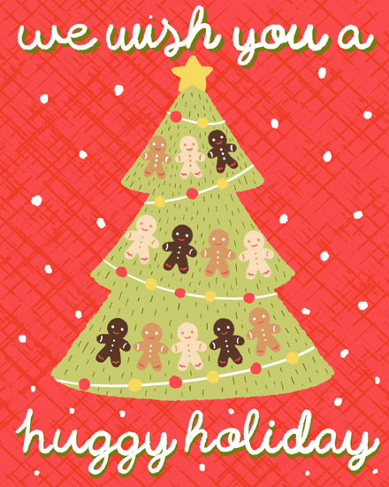 christmas card we wish you a huggy holiday gingerbread christmas tree