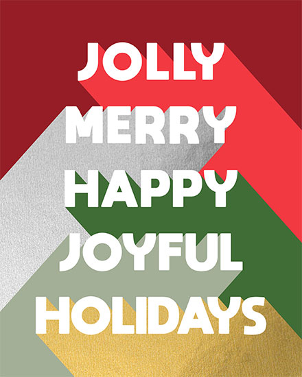 holiday card jolly merry happy joyful holidays