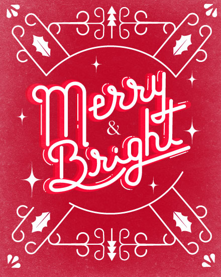 holiday card merry bright modern christmas