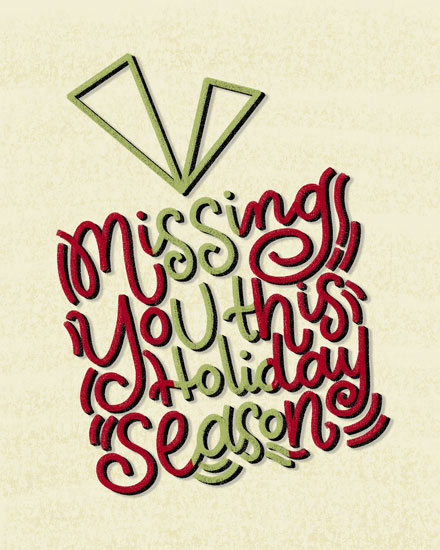 holiday card missing you gift box