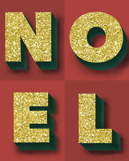 holiday card noel block letters