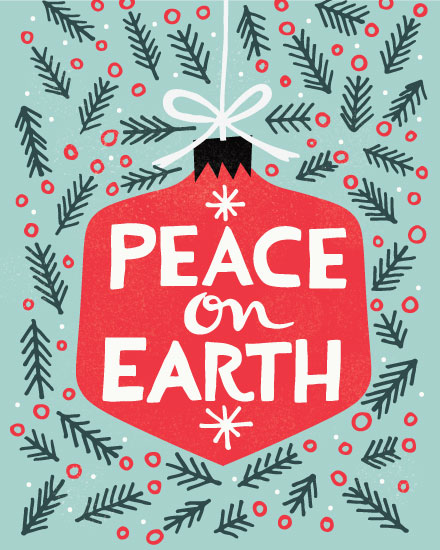 holiday card peace on earth ornament