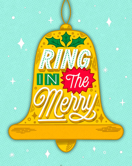 holiday card ring in the merry bell