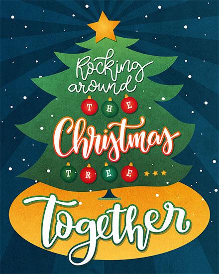 christmas card rocking around the christmas tree together