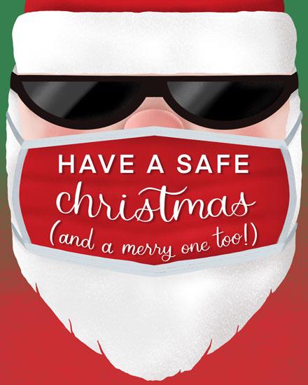 holiday card santa in mask