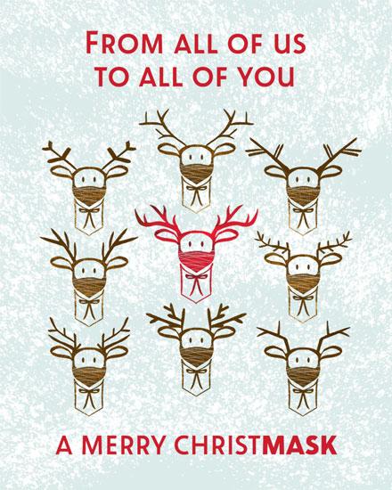 christmas card santas masked reindeer