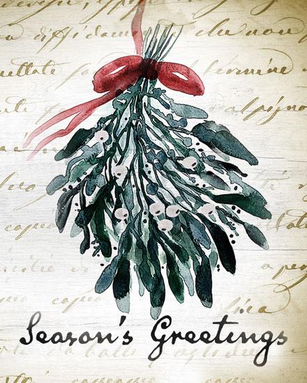 holiday card seasons greetings mistletoe