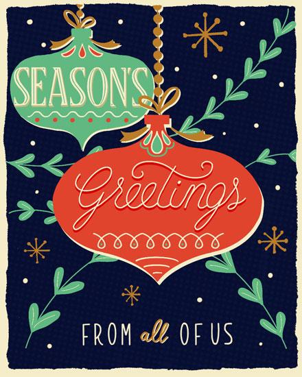 holiday card seasons greetings ornaments