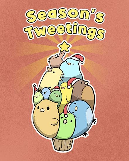 holiday card seasons tweetings bird tree