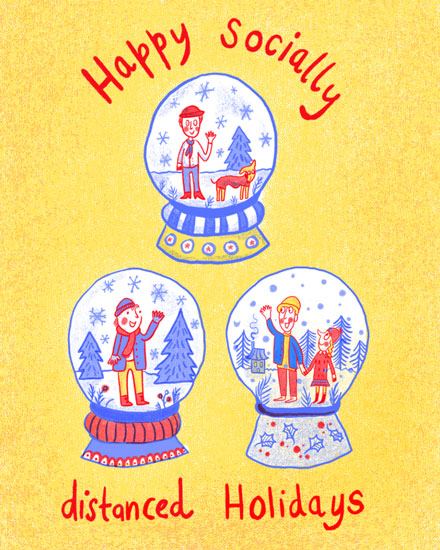 holiday card socially distanced snowglobes