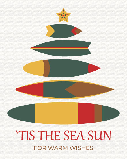 holiday card surfboards tree