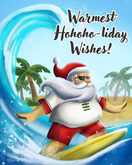 holiday card surfing santa ho ho holiday