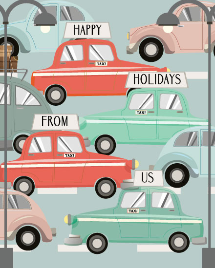 holiday card taxi cabs