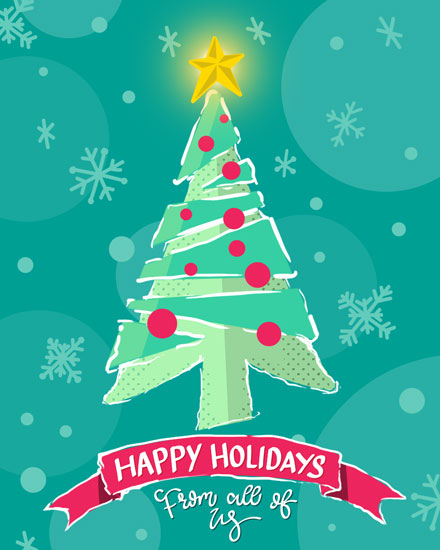 holiday card teal christmas tree