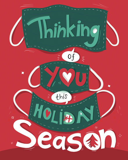 holiday card thinking of you masks