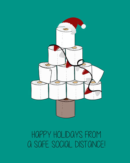 holiday card toilet paper tree