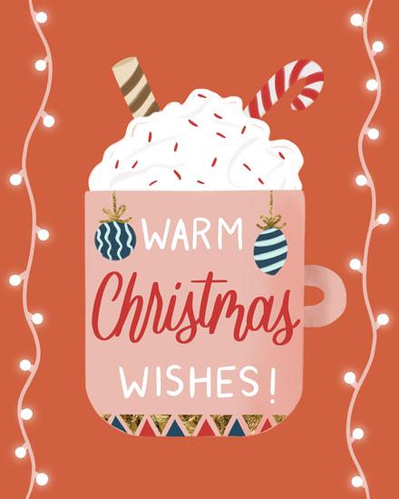 christmas card warm christmas wishes hot chocolate mug