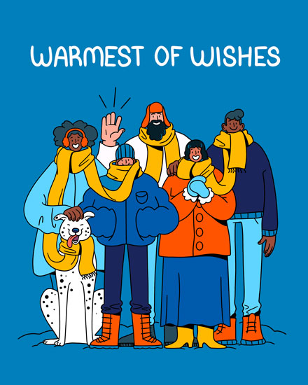 holiday card warmest of wishes group with yellow scarf