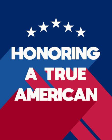 military appreciation card honoring a true american