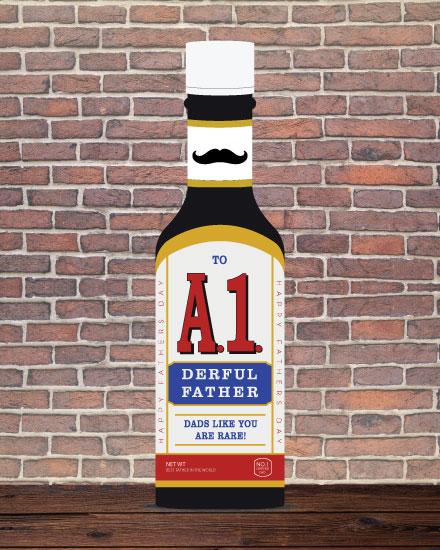 fathers day card a1-derful dad steak sauce bottle
