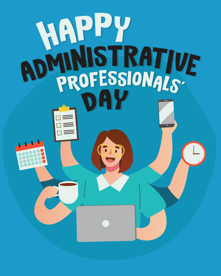administrative professionals day card multitasking admin