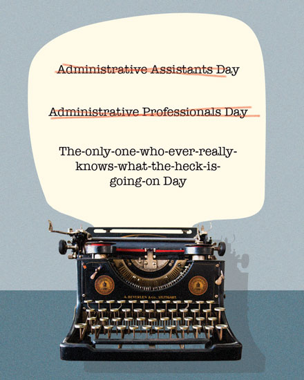 administrative professionals day card typewriter