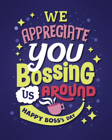 boss day card appreciate you bossing us around