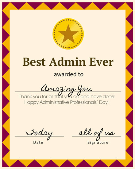 administrative professionals day card best admin ever certificate