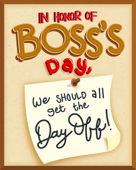 boss day card boss day off memo