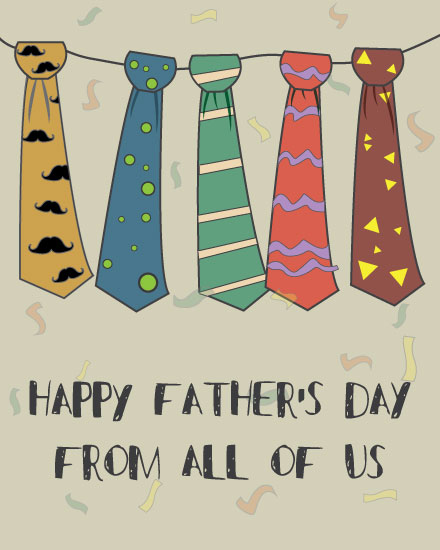 father's day card colorful neckties