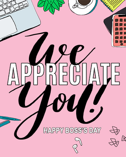boss day card we appreciate you