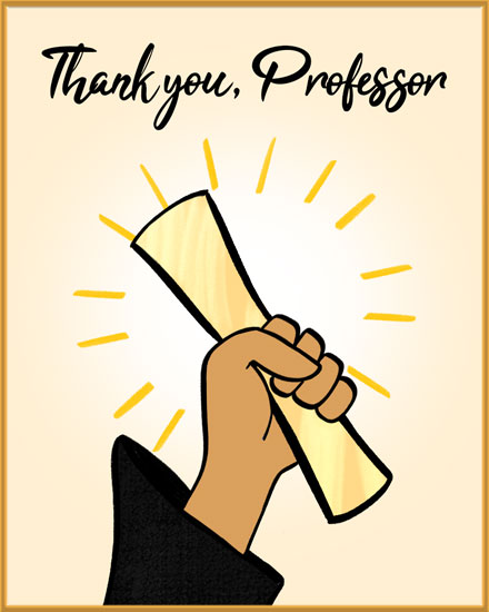 thank you card for professor grad holding diploma