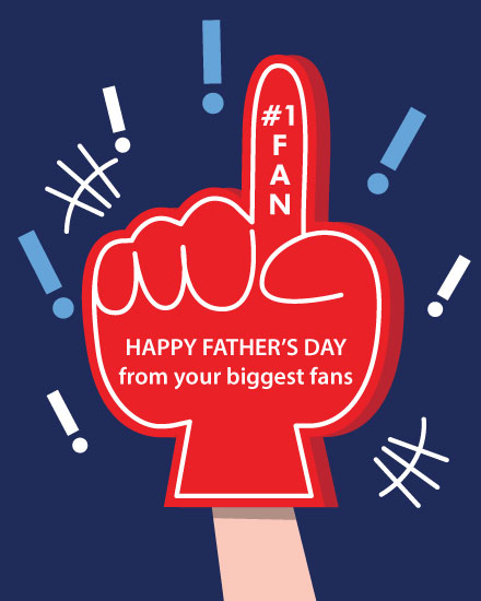 father's day card foam finger champ