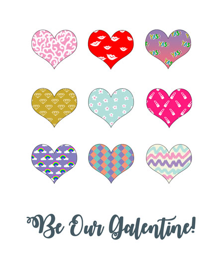 happy galentines day card variety of hearts