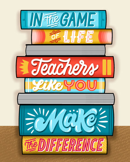teacher appreciation card stack of books you make a difference
