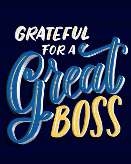boss day card grateful for a great boss