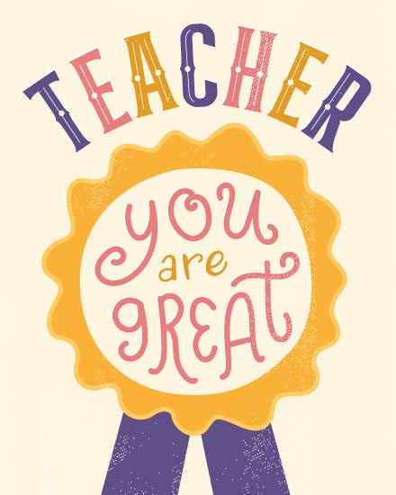 teacher appreciation card you are great ribbon